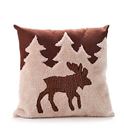 LivingQuarters Brown Moose Pillow