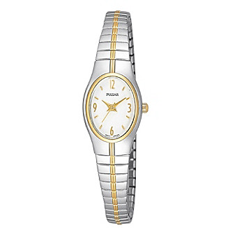 Pulsar® Women's Two-Tone White Dial Slim Expansion Watch