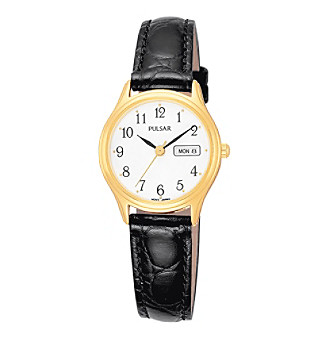 Pulsar® Women's Goldtone White Dial Leather Strap Watch