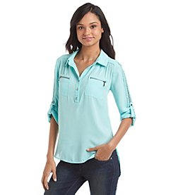 Sequin Hearts® Crochet Utility Shirt