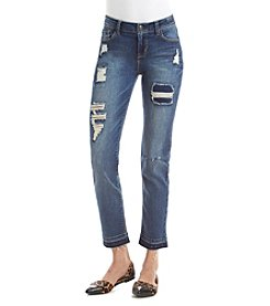 Kensie Jeans Destructed Straight Leg Jeans