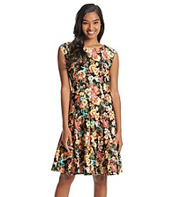 Julian Taylor Floral Scuba Fit And Flare Dress