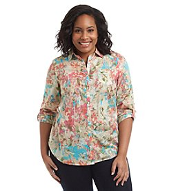 Relativity® Plus Size Floral Printed Roll Sleeve Utility Shirt