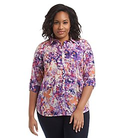 Relativity® Plus Size Printed Roll Sleeve Utility Shirt