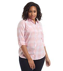 Relativity® Plus Size Plaid Roll Sleeve Utility Shirt