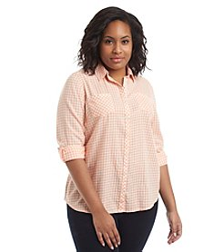 Relativity® Plus Size Plaid Roll Sleeve Utility Shirt