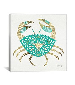 iCanvas Gold Turquoise Crab Artprint by Cat Coquillette Fine Art Paper Print