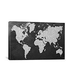iCanvas Grey Map by Natasha Westcoat Canvas Print