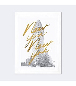 iCanvas Gilded New York by All That Glitters White Framed Fine Art Paper Print