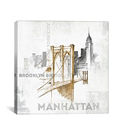 iCanvas Brooklyn Bridge by All That Glitters Canvas Print