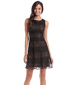 Jessica Simpson Lace And Striped Fit And Flare Dress