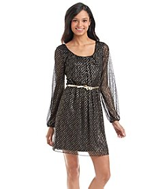 Jessica Simpson Metallic Chiffon Dress