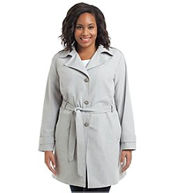 Relativity® Plus Size Double-Breasted Trenchcoat