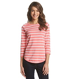 Jeanne Pierre® Striped Crew Neck Pullover