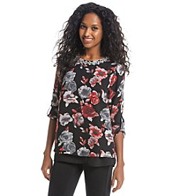 Black Rainn™ Floral Print Embellished Top