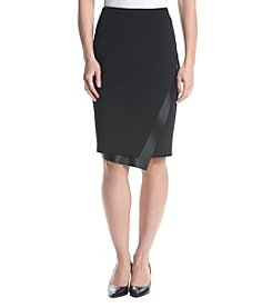 Calvin Klein Pencil Skirt With Faux Leather Trim