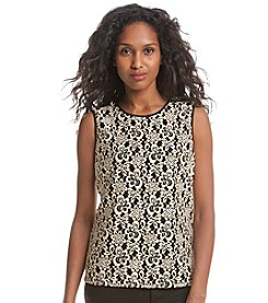 Kasper® Lace Overlay Top