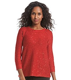 Anne Klein® Raglan Sequin Sweater