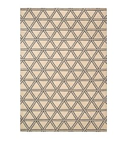 Nourison Hollywood Shimmer Architral Motor Crossing Bisque Area Rug
