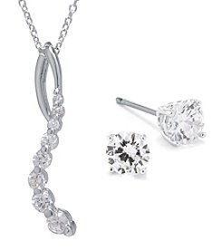 Silver Plated Cubic Zirconia Journey Pendant Necklace & Earring Set