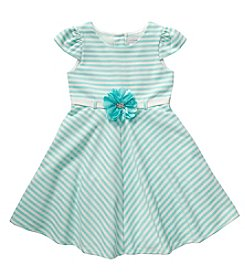 Sweet Heart Rose® Girls' 2T-6X Capsleeve Stripe With Flower Belt Dress