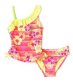Mambo® Girls' 2T-6X Sunset Tropic One Shoulder Tankini