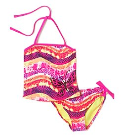 Mambo® Girls' 2T-6X Animal Print Bandeau Tankini