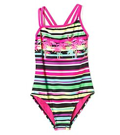 Mambo® Girls' 7-16 Island Stripe One Piece