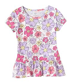 Mix & Match Girls' 2T-6X Floral Print Peplum Tee
