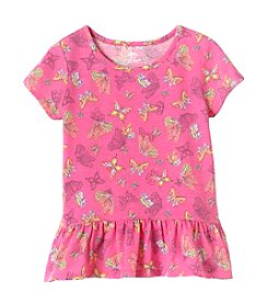 mix&MATCH Girls' 2T-6X Butterfly Print Peplum Tee
