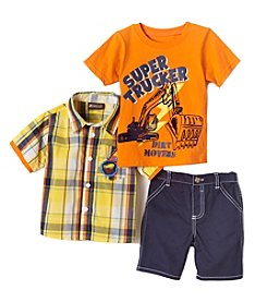 Nannette® Boys' 2T-7 Trucker Shirt And Pants Set
