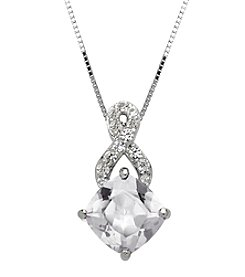 Fine Jewelry White Sapphire Pendant Necklace in Sterling Silver