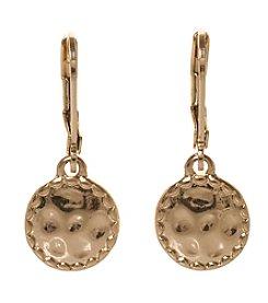 Napier® Goldtone Hammered Leverback Drop Earrings