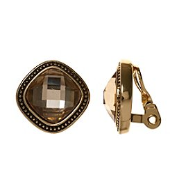 Napier® Goldtone and Smoky Quartz Button Clip Earrings