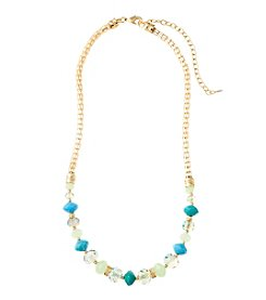 Napier® Goldtone and Green Collar Necklace