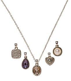 Napier® Boxed Silvertone Interchangeable Heart Pendant Necklace
