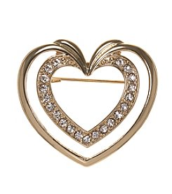 Napier® Boxed Goldtone and Clear Heart Pin