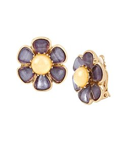 Betsey Johnson® Goldtone Faceted Stone Flower Button Stud Clip-On Earrings
