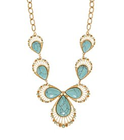 Nine West Vintage America Collection® Worn Goldtone and Turquoise Drama Frontal Necklace