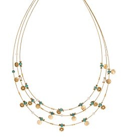 Nine West Vintage America Collection® Goldtone and Turquoise Multi-Row Illusion Necklace