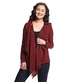 w.f. Flannel Hoodie With Fringe