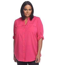 Calvin Klein Plus Size Roll Tab Sleeve Blouse