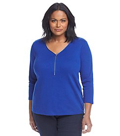 Rafaella® Plus Size Zip Knit Top