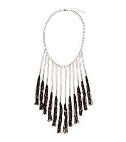 Relativity® Silvertone Black Exaggerated Fringe Necklace