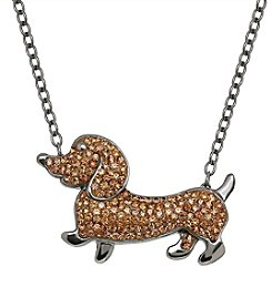 Impressions Sterling Silver Brown Crystal Dog Necklace