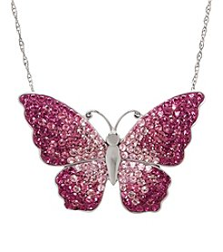 Impressions Sterling Silver Vintage Rose Butterfly Necklace