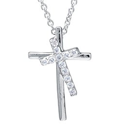 Athra Silver-Plated and Cubic Zirconia Cross Necklace