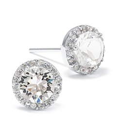 Athra Silver-Plated Clear Swarovski® Stud with Cubic Zirconia Halo Earrings
