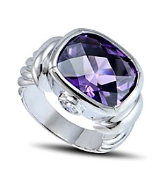 Designs by FMC Silver-Plate Amethyst Cubic Zirconia Ring