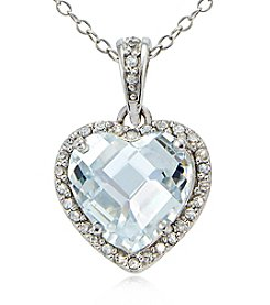 Designs by FMC Sterling Silver & Cubic Zirconia Halo Heart Pendant Necklace